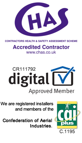 We are Registered installers of Aerials & Satellites with the RDI IB/ Get me digital (Registered Digital Licensing Body)